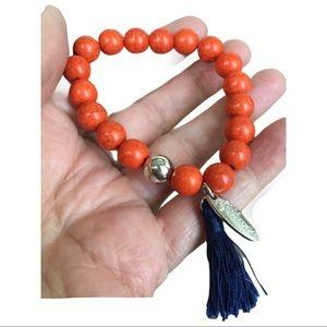 Orange and blue tassel Plunder Bracelet. GO GATORS